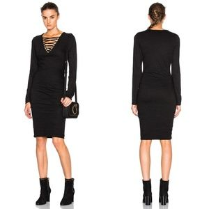 PAM & GELA RUCHED LACE UP BODYCON DRESS BLACK